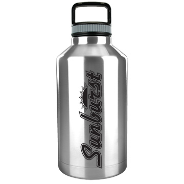 64 ounce stainless steel vacuum growler with custom imprint